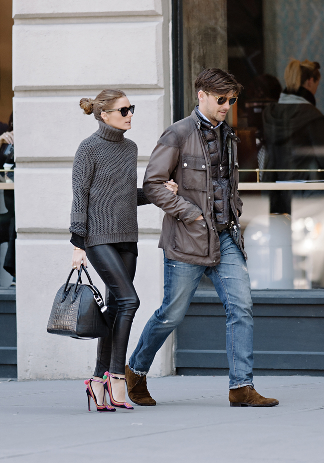 Olivia Palermo and fiancÈ Johannes Huebl seen taking an afternoon stroll in NYC