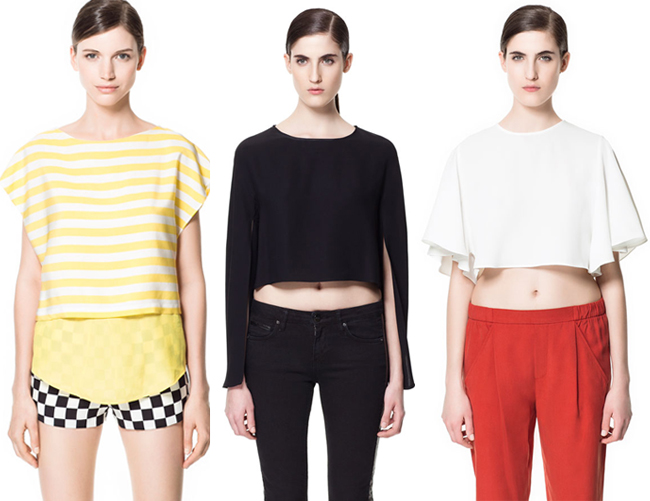 zara cropped tops