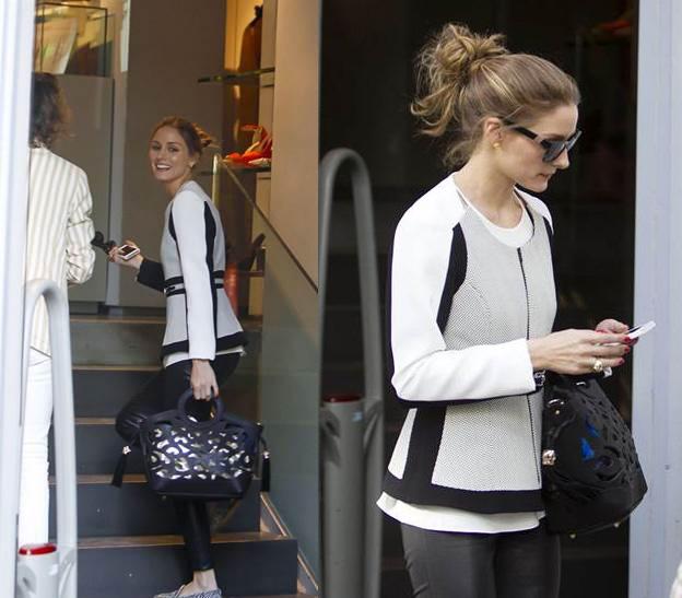Olivia Palermo con chaqueta de Adolfo Domínguez de shopping por Madrid. Mayo 2013
