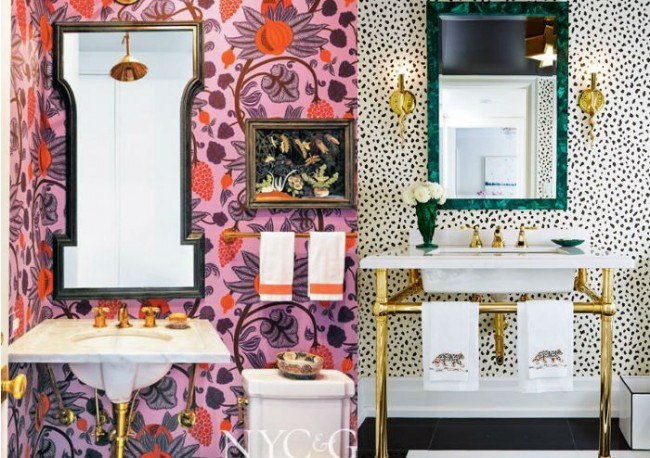 cobre y oro en el baño interior design