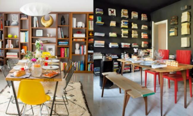 estantería de libros en comedor y cocina