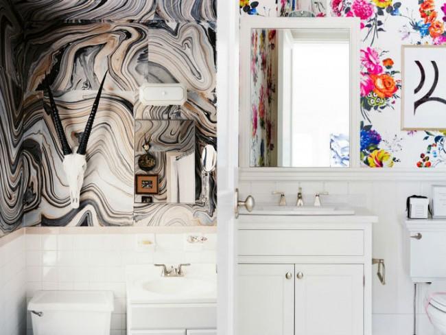 baños con paredes estampadas decor