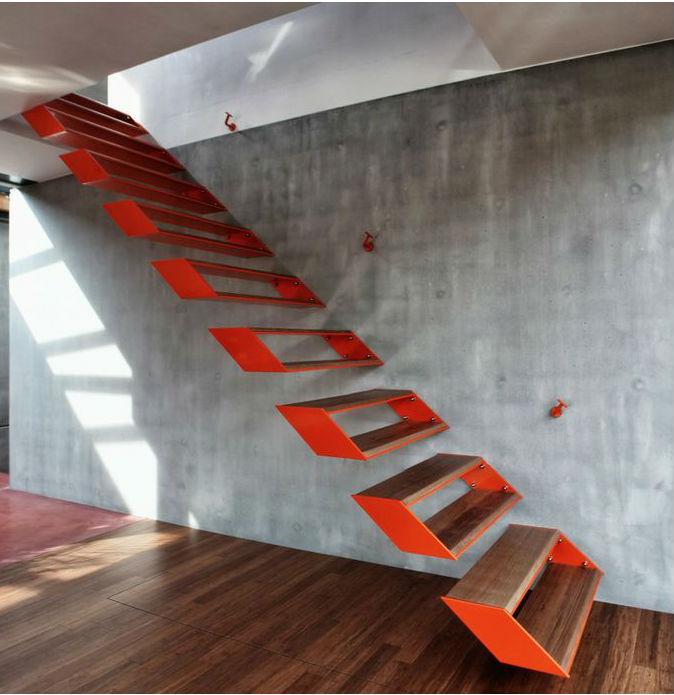 Escaleras Voladas De Madera Free Escalera Con Peldaos De Madera Y
