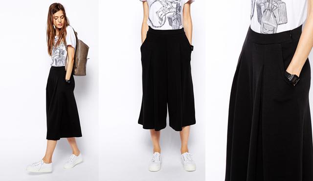 falda pantalón asos negra