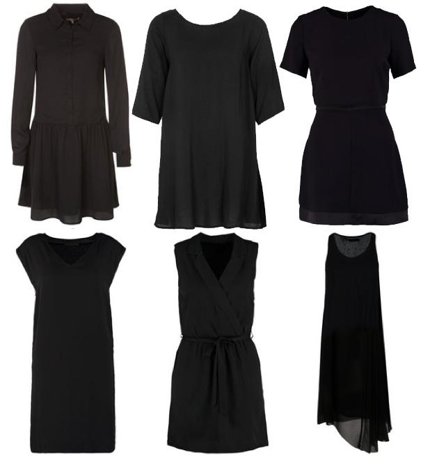 Vestido negro de manga tres cuartos