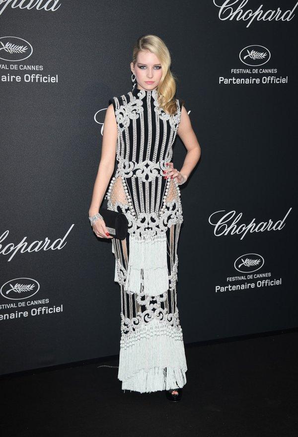 Lottie Moss de Balmain en la fiesta de Chopard en el Festival de Cine de Cannes 2016