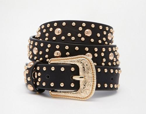 cinturon negro con tachuelas asos