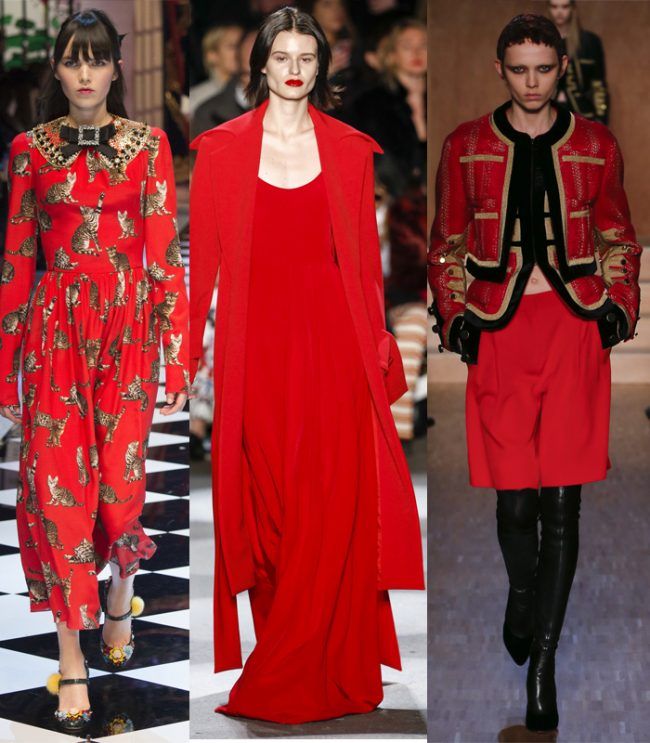 pantone red aurora rojo dolce gabbana gatitos christian siriano givenchy invierno 2016 color tendencias