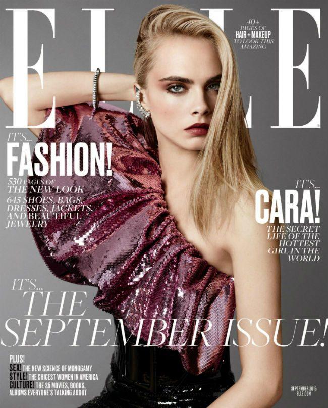 Cara Delevingne elle usa portada septiembre september issue saint laurent vestido