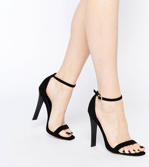 sandalias tacón negras asos