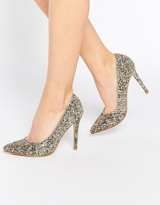 zapatos de salon dorados brillo true decadence asos