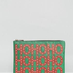 bolso de mano verde con slogan navideño ho ho ho repetido disponible en asos