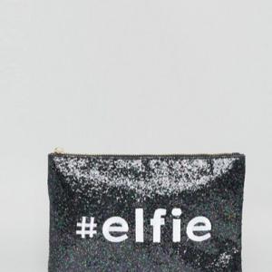 cartera de mano purpurina con mensaje navideño elfie