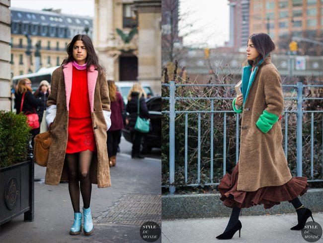 Leandra Medine con el abrigo de Sakks Potts tricolor por las calles de Nueva York