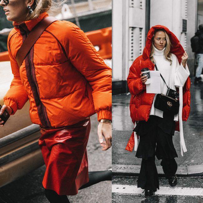 street style de la nyfw plumifero rojo
