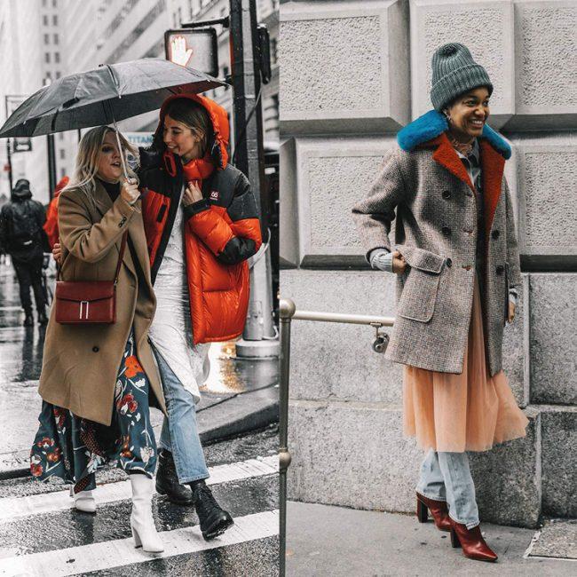 Street style de la NYFW Veronika Heilbrunner vestido con vaqueros