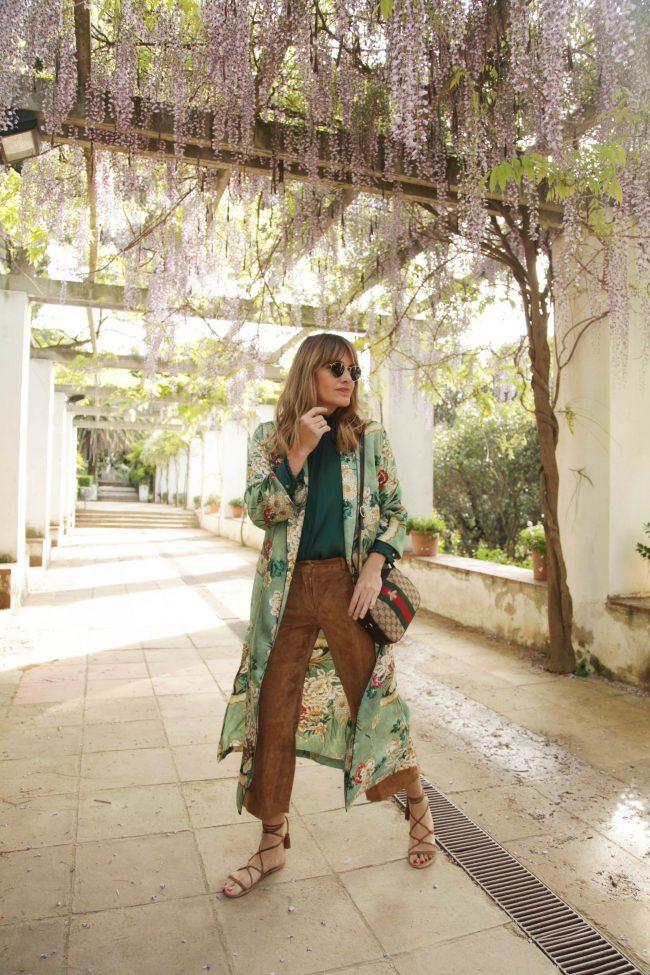 kimono verde de zara look boho chic bolso bandolera gucci my daily style