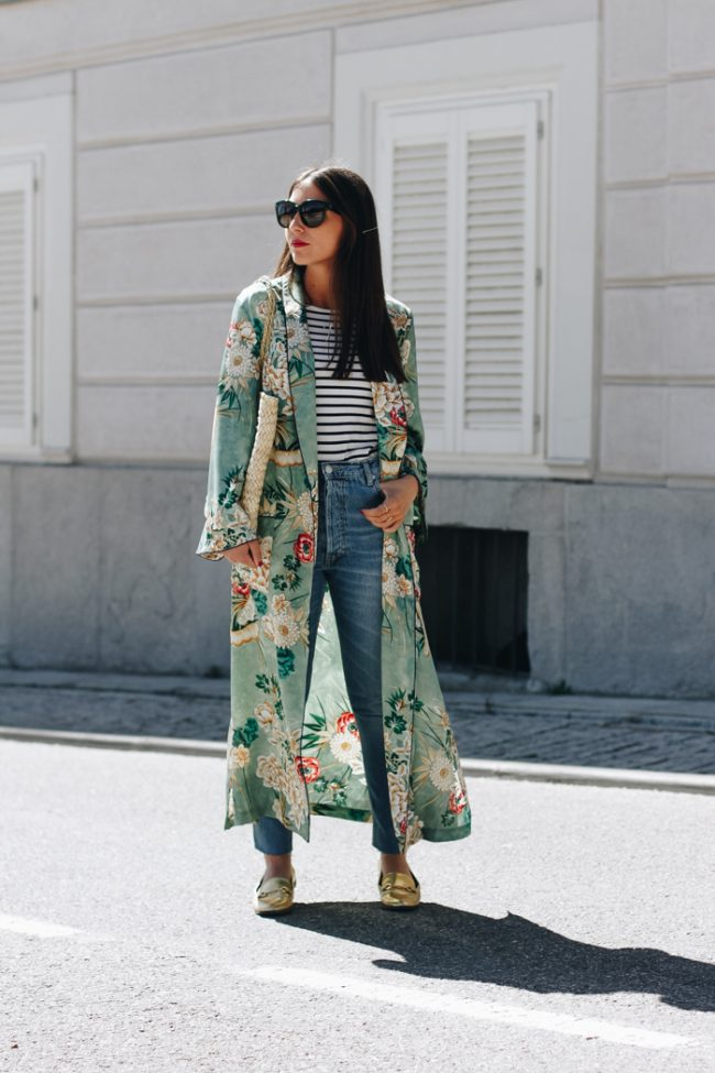 kimono verde de zara estampado floral bolso rafia natura look basico erea louro