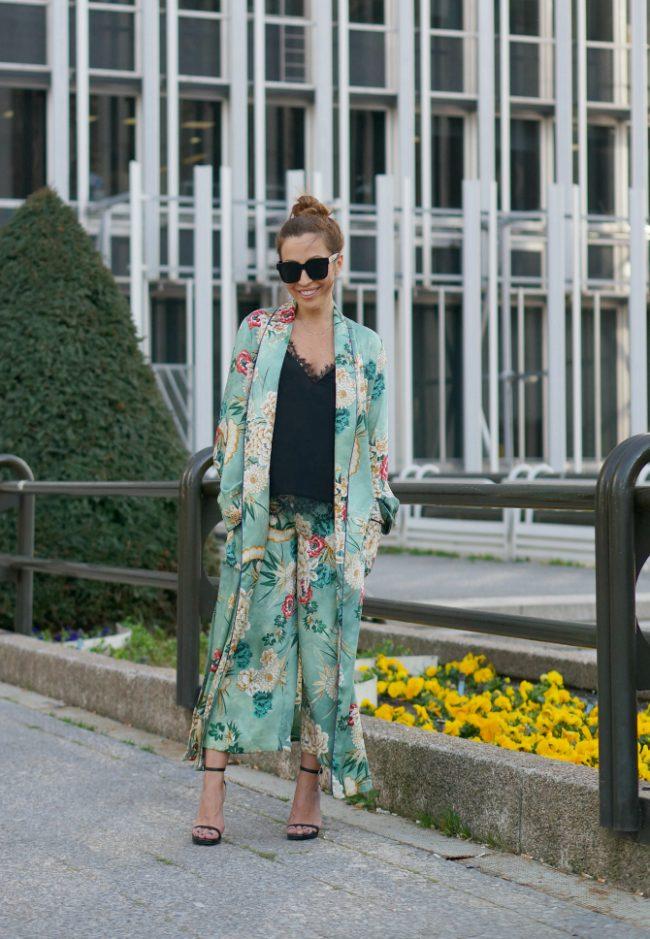 kimono verde de zara pyjama party estefania c2t floral tobillero