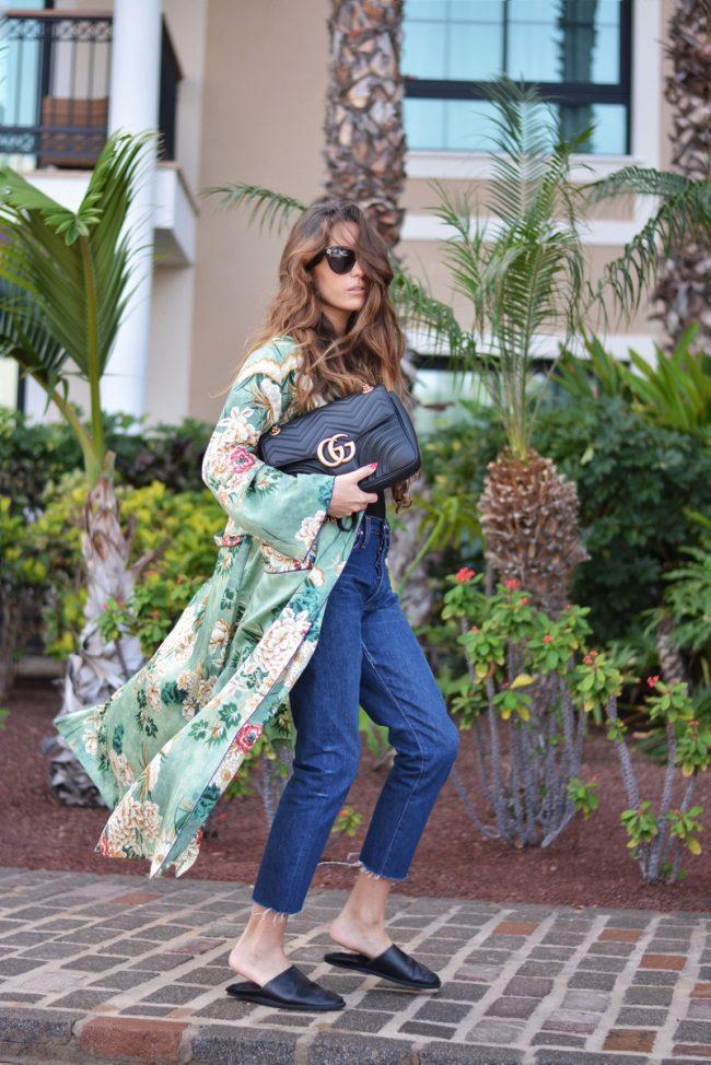 kimono verde de zara estampado floral tobillero vaqueros crop bolso gucci babuchas stella wants to die