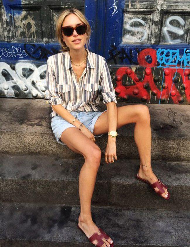 Pernille teisbaek sandalias hermes oran street style denim influencer