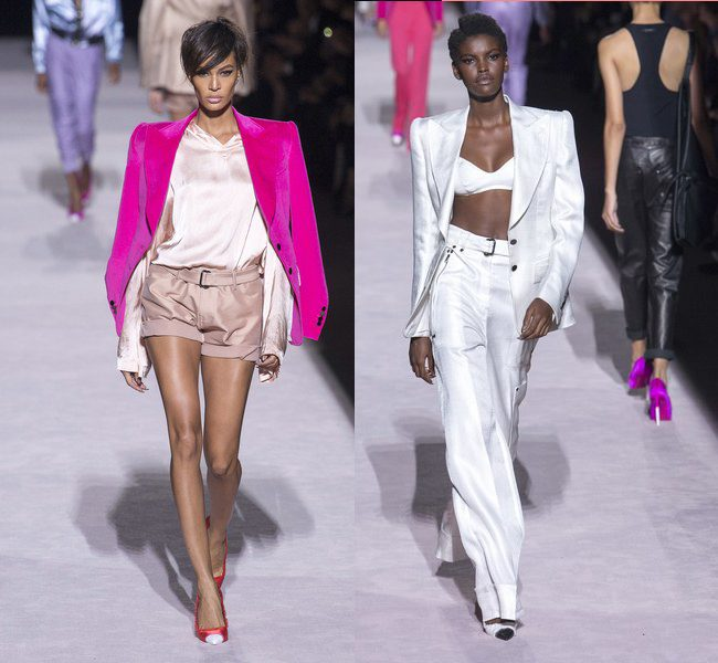 blazer con hombreras tom ford PV18 joan smalls desfile catwalk nyfw