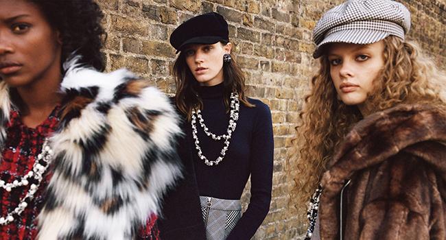 editorial de Zara TRF noviembre 2017 boinas collar perlas abrigo peluche