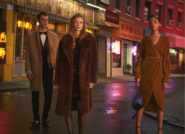 editorial de Mango noviembre 2017 abrigos borreguito vestidos wrap terciopelo